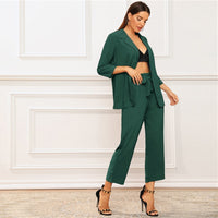 Blazer and Belted Crop Pants 2 Piece Set
