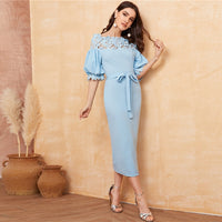 Lace Yoke Bishop Sleeve Pencil Dress
