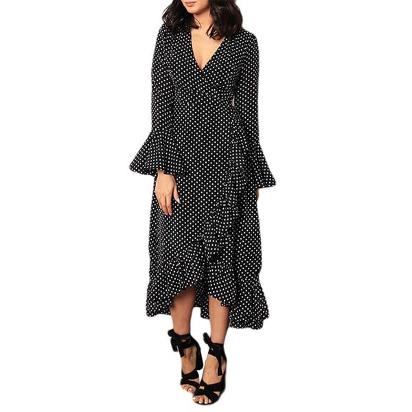 V Neck Dot Print Long Sleeve Ruffled Dress