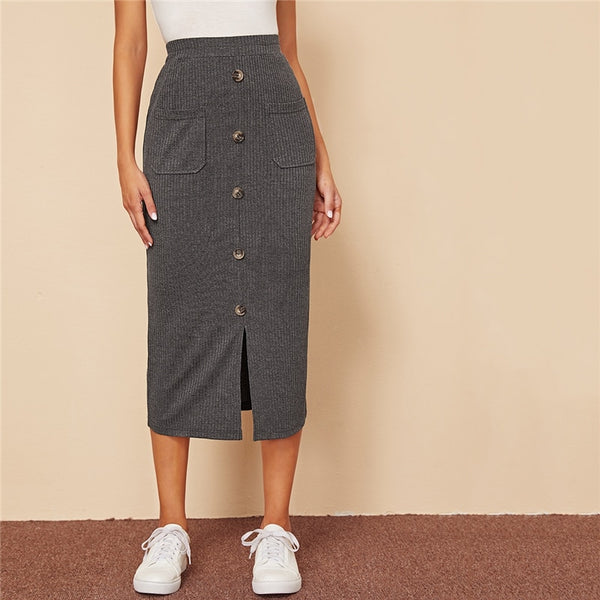 Breasted Split Hem Pocket Patched Rib-knit Skirts