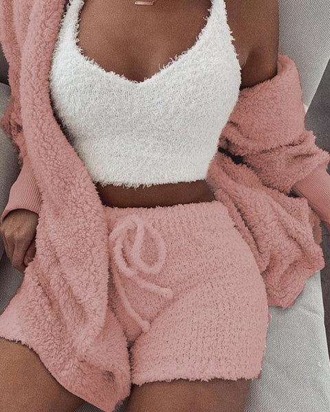 Two Piece Set Hooded Open Front Teddy
