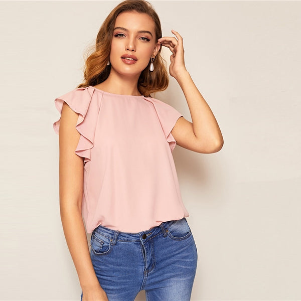 Tie Back Raglan Ruffle Shoulder Casual Solid Blouse