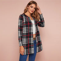 Black and White Plaid Print Open Front Coat