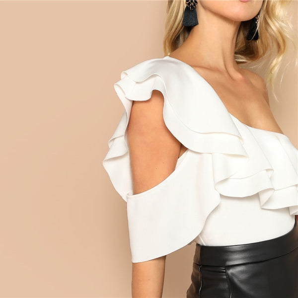 Layered Ruffle One Shoulder Mid Waist Skinny Backless