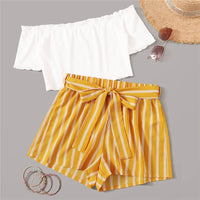 Off Shoulder Rib-Knit Crop Top and Self Belted Striped Shorts Set