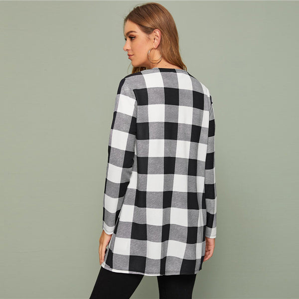 Plaid Print Open Front Casual Coat