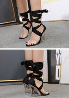 Transparent Ankle Lace-Up Wedges High Heels