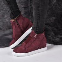 Round Toe Ankle Boots Wedge Zip Lady sneakers