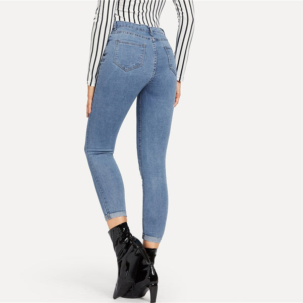 Button Front Ankle Skinny Jeans