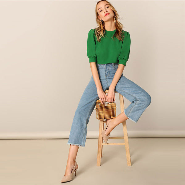 Green Puff Sleeve Top And Blouse
