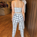 Two Piece Sets Sleeveless Grid Plunge V-neck