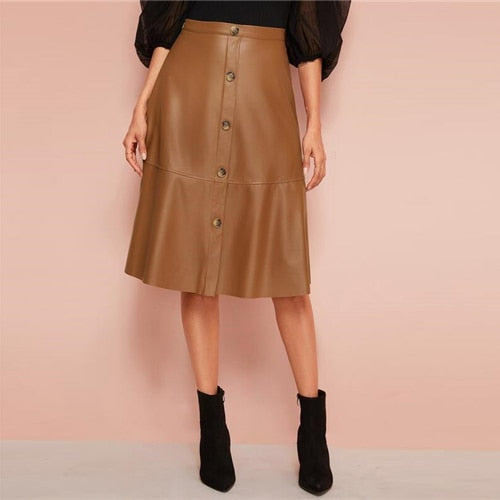 Breasted Leather Midi Skirt