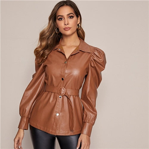 Leather Casual Jacket With Belt Jacket