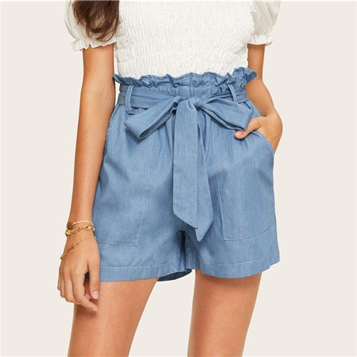 Blue Paperbag Waist Belted Denim Shorts