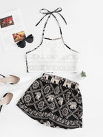 Lace Panel Knotted Back Elephant Floral Print Shorts Set