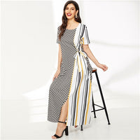 Contrast Gingham And Striped Print Knot-Side Dress