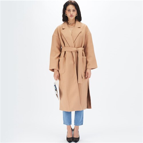 Camel Notched Collar Split Hem Elegant Belted Trench Coat
