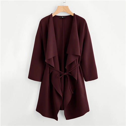 Waterfall Collar Double Pocket outerwear