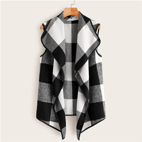 Waterfall Collar Gingham Vest Coat