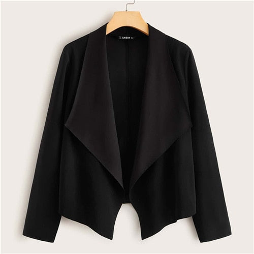 Waterfall Collar Open Front Jacket