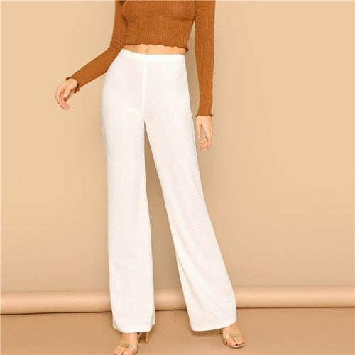 High Waist Straight Leg Pants