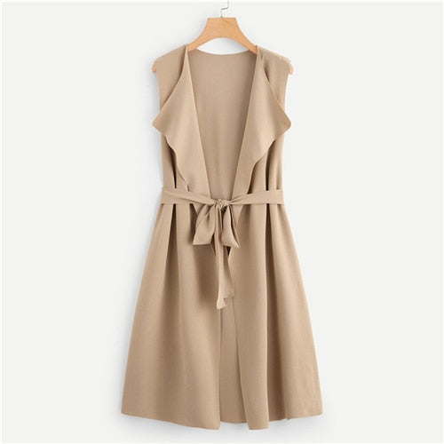 Waterfall Collar Bow Tie Waist Sleeveless Outerwear