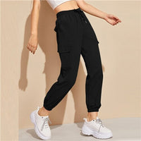 Flap Pocket Drawstring Waist Sweatpants