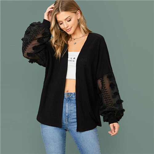 Dot Mesh Lantern Sleeve Rib-knit Coat