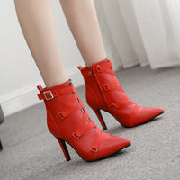 Ankle Buckle Zipper Pointed Toe Boots