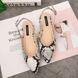 Snake-skinned Pointed Toe Shallow-Mouth Flat