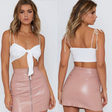 Bandage Front Knot Bow Crop Top Sleeveless