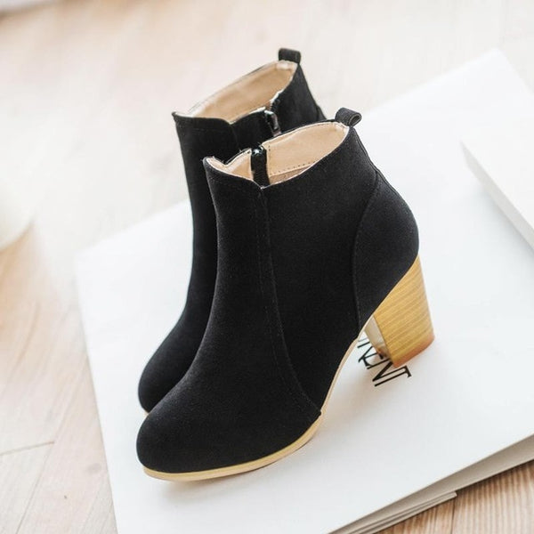 zipper matte leather high heel Boot