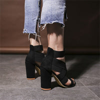 Cross Elastic Bandage Shoes Heel Sandals