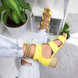 Low Heel Hemp Rope Open Toe Sandals