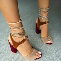 Ankle Strap Thick Pointed High Heels