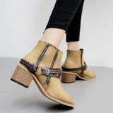 Buckle Ankle Booties Leather Boots