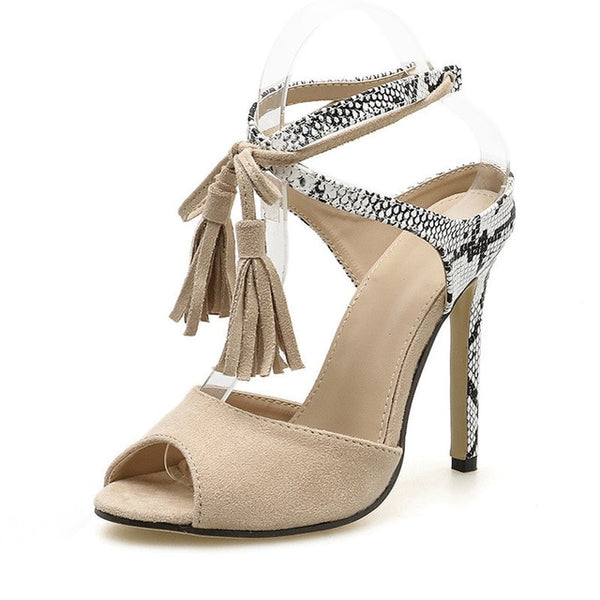 Snake Print Ankle Strap High Heels Pumps