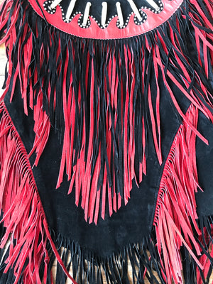 Red and Black Suede Beaded Vest
