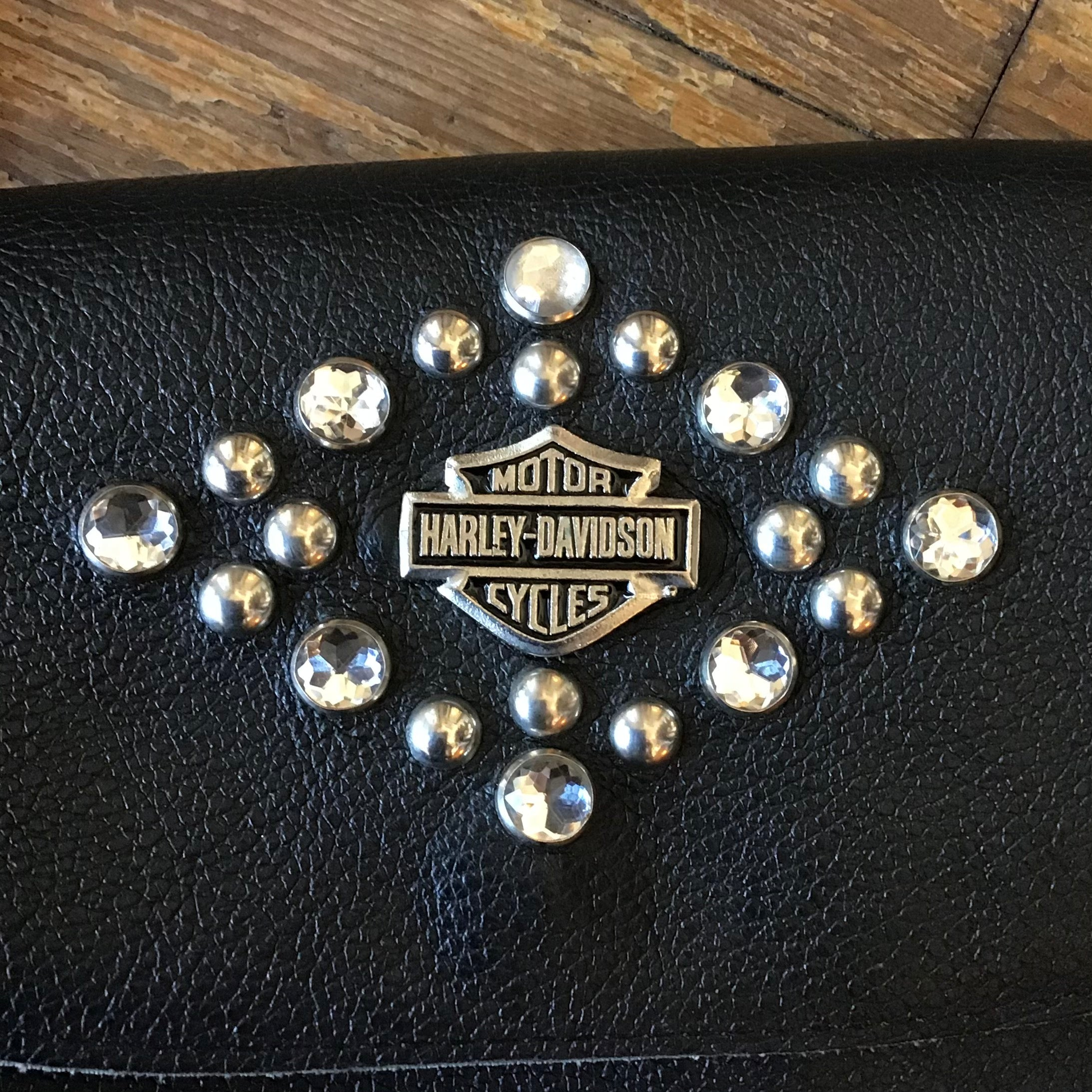 Vintage Harley-Davidson Rhinestone O-Ring Leather Purse