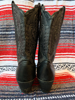 Classic Black High-Heeled Cowboy Boot