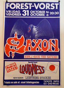 1986 Saxon Rock The Nations Tour w/ Loudness Vorst National, Belgium Show Poster