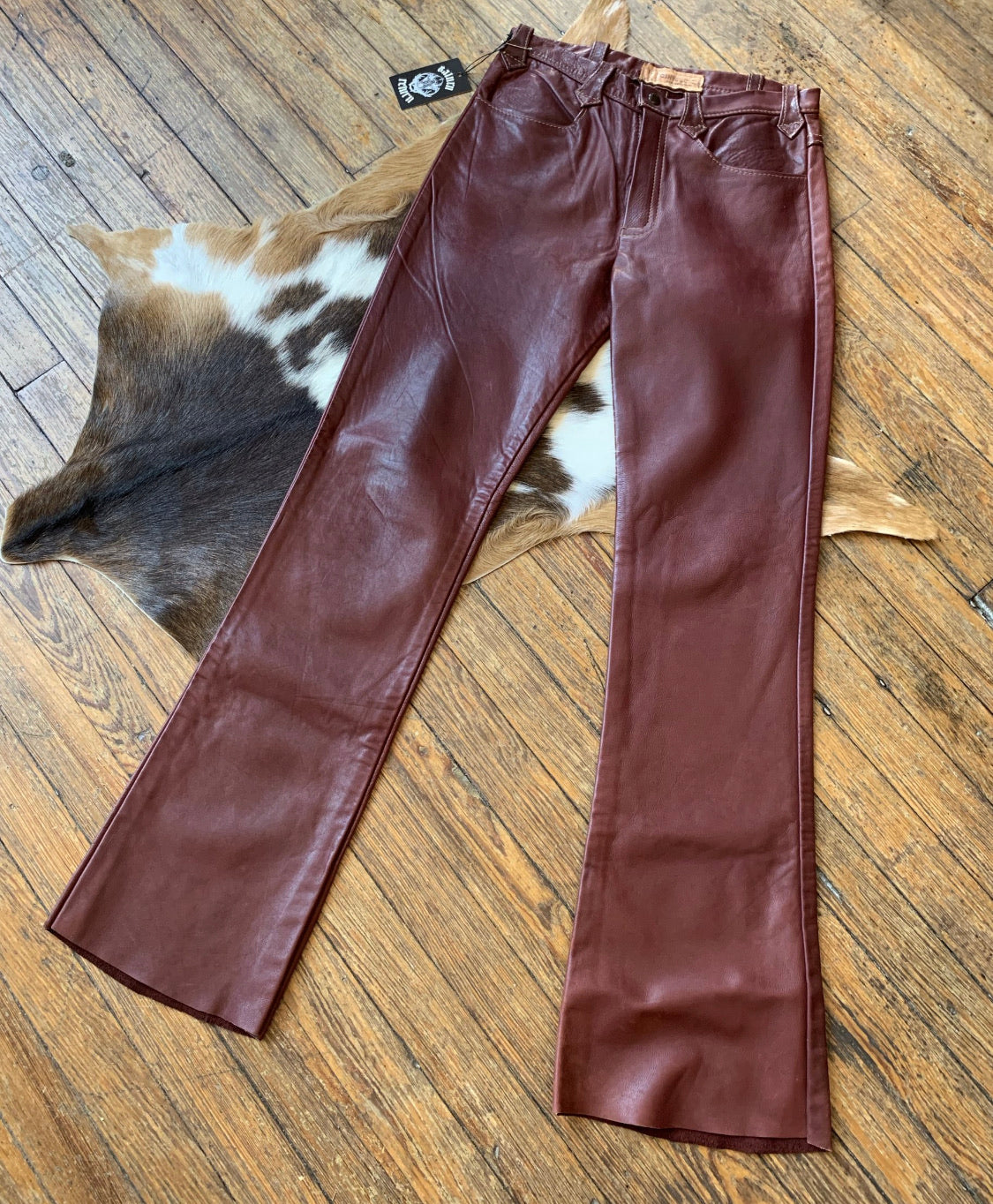 Vintage Oxblood Leather Flare Pants
