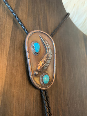 Huge Vintage Sterling Silver Bolo Tie w/ Turquoise and Feather Detail