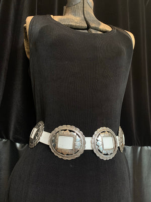 White Brighton Heavy Slot Concho Belt