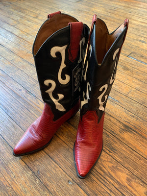 Red Black and White Cowboy Boots