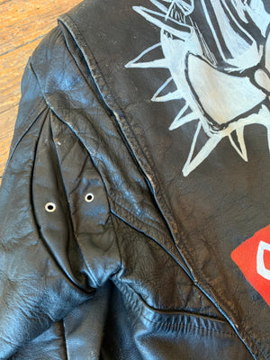 Vintage Painted Corrosion of Conformity Eye for an Eye Leather Jacket