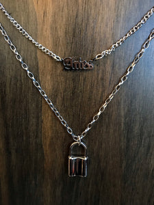 Layered Aries and Lock Necklace