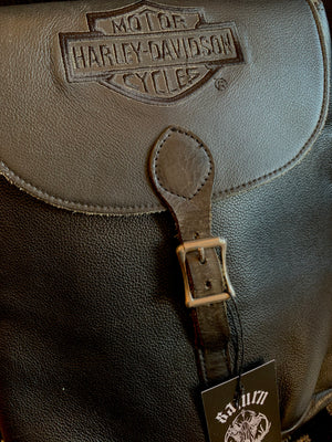 Vintage Harley-Davidson Small Leather Flap-Over Backpack