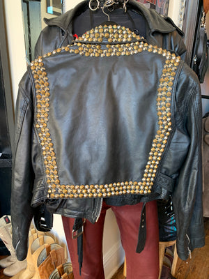 Vintage Silver and Brass Studded Leather Moto Jacket