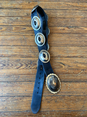 Black Leather Concho Belt w/ Removable Buckle